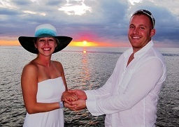 Recite your vows in the most romantic location, at sea, with the sun setting behind you.