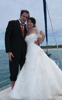 Bride and Groom after exchanging vows on our wedding charter.